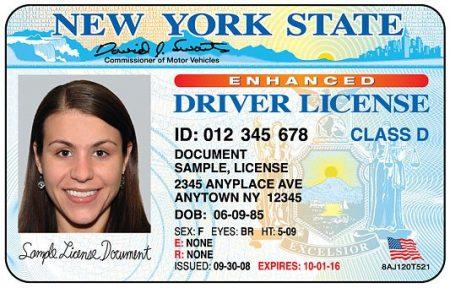 Образец водительских прав в США
