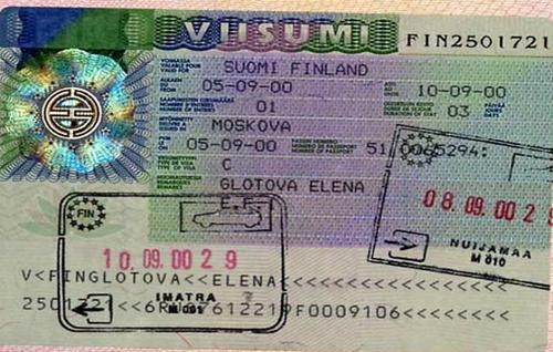 Образец визы в Финляндию
