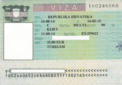 Так выглядит виза в Хорватию