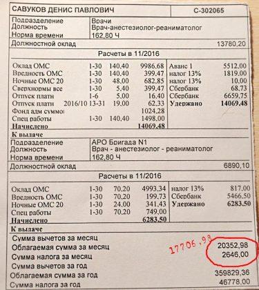 зарплатный лист врача
