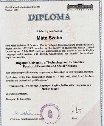Образец диплома выдаваемого в Венгрии