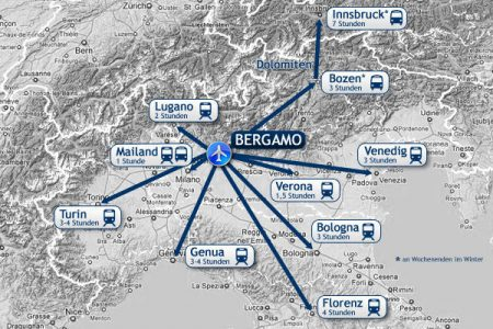 Аэропорт Бергамо на карте