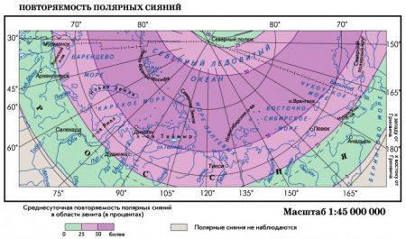 Повторяемость полярных сияний в Арктике