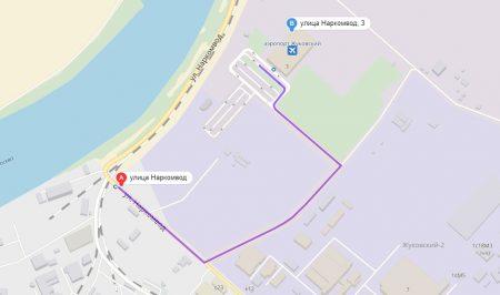 "путь от остановки «Переезд» до аэропорт ""Жуковский"""