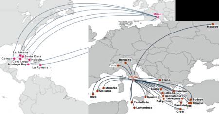 Схема перелетов в Италии