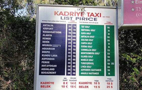 Информационный стенд стоимости такси в Стамбуле