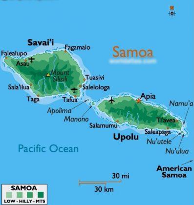 Самоа на карте мира