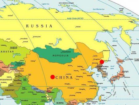 Владивосток и Китай на карте мира