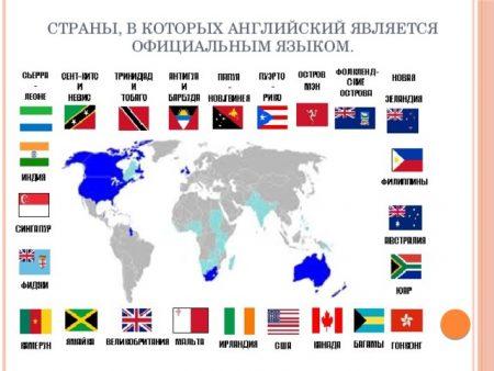 Страны, в которых английский является официальным языком.