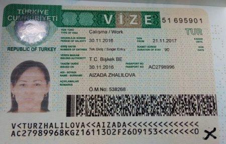 Так выглядит виза в Турцию