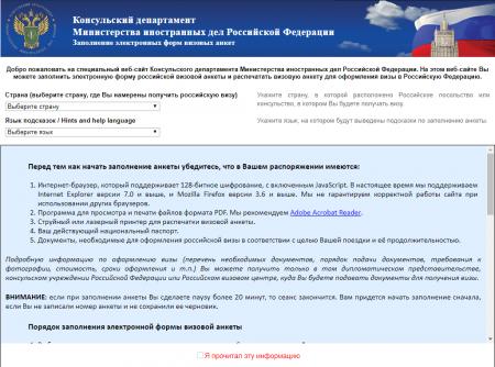 сайт для заполнения формы на электронную визу в Россию