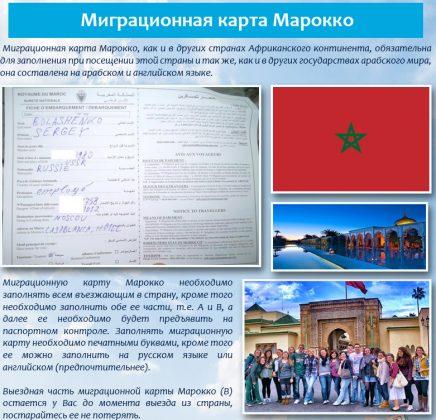 требования к миграционной карте Марокко