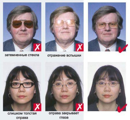 фото на визу с очками