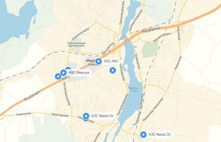 Заправки в Иматре на карте