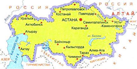 Карта Казахстана с городами