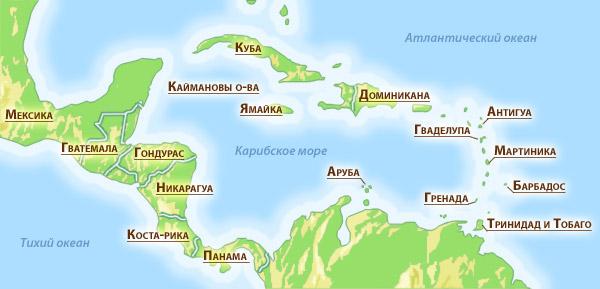 Карта стран Карибского бассейна