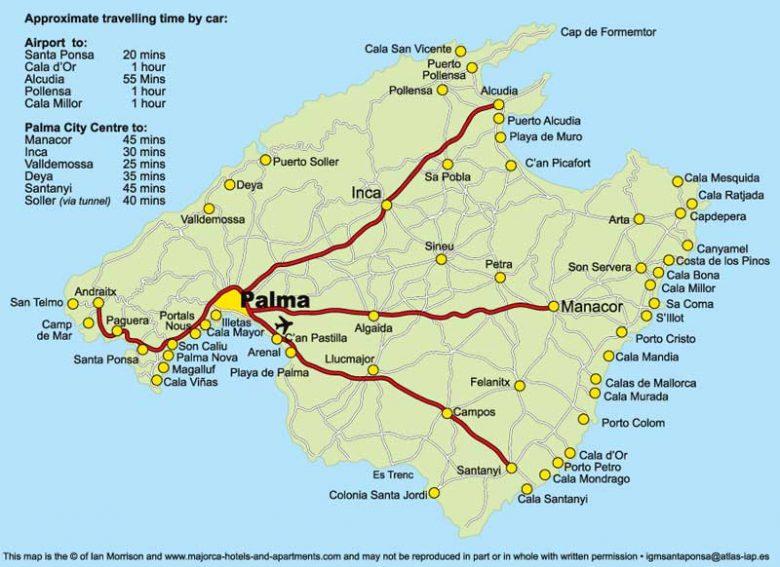 Карта острова с подробными маршрутами
