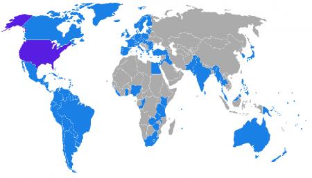 Карта стран с договором об экстрадиции