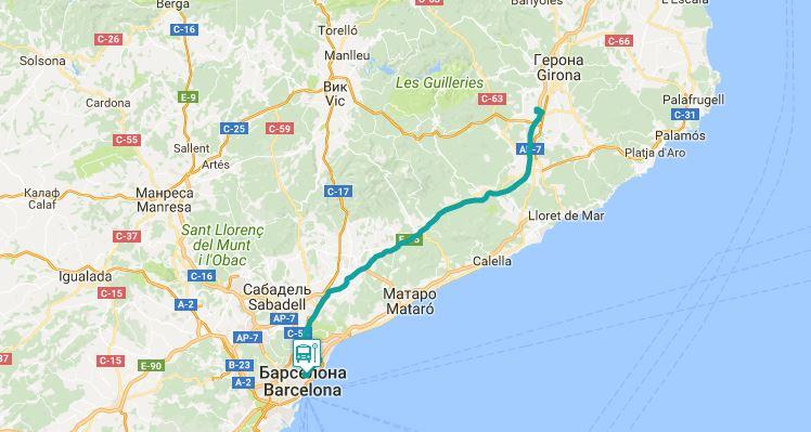 Маршрут от из аэропорта Жироны до Барселоны