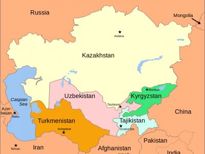 Средняя Азия на карте