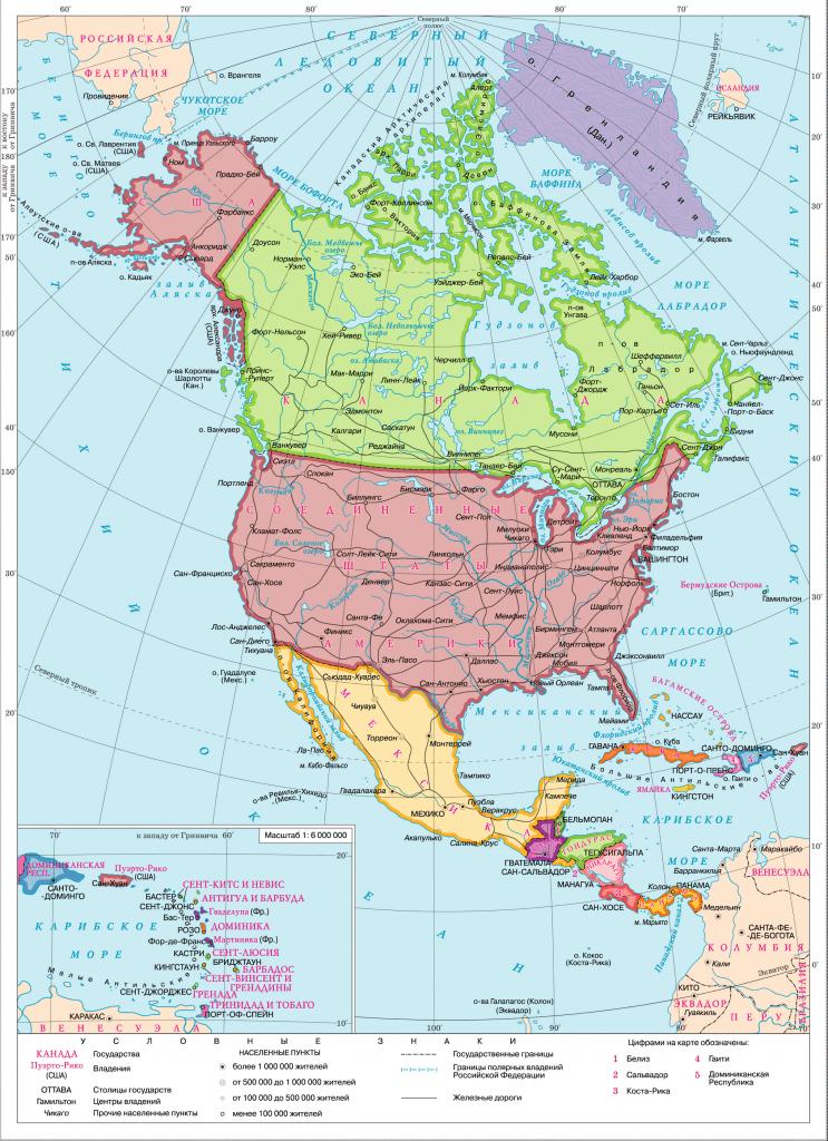 Политическая карта Северной Америки