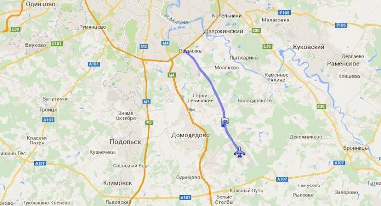 Маршрут от МКАД до аэропорта Домодедово