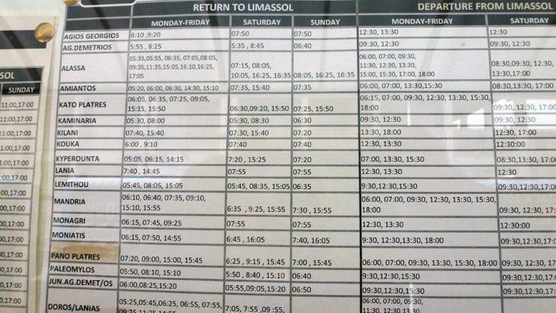 Расписание автобусов округа-Лимассол
