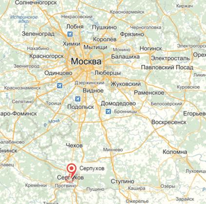 Город Серпухов на карте
