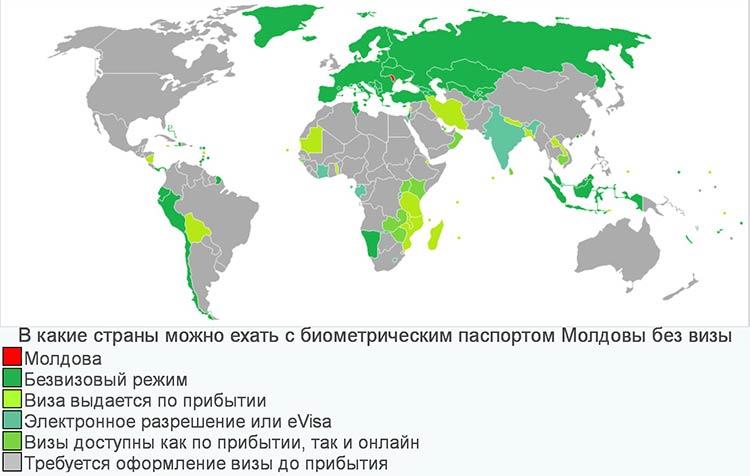 Безвизовые страны для граждан Молдовы