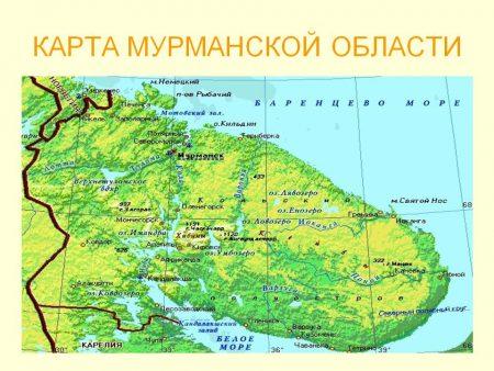 Карта Мурманской области.