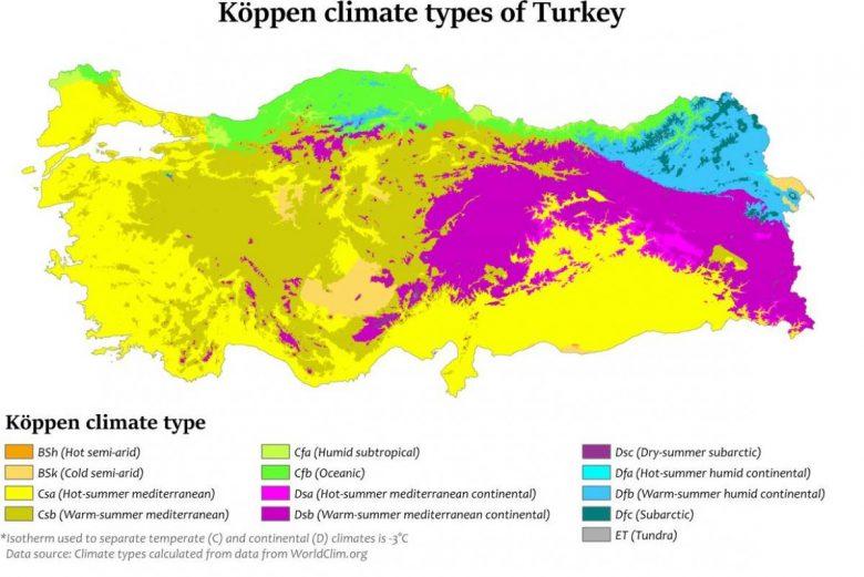 карта климата Турции