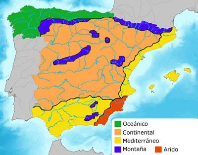 Карта климатических зон в Испании