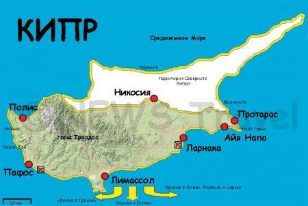 Расположение курортов Кипра на карте