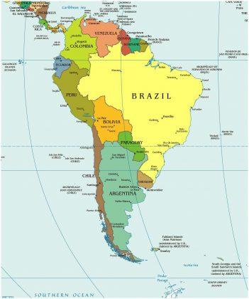 Южная Америка на карте