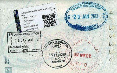 Штамп визы в Шри-Ланку