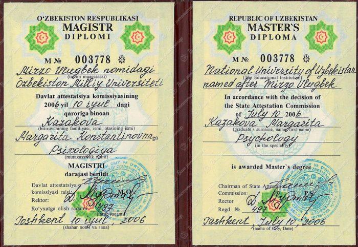 Диплом магистра Национального университета Узбекистана