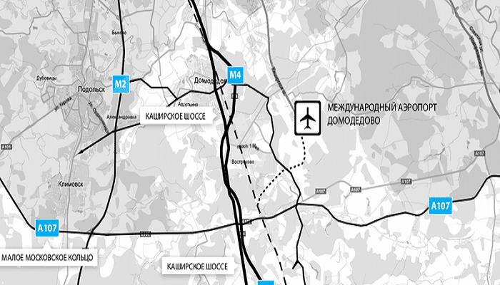 Аэропорт Домодедово на карте