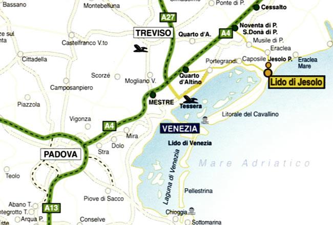 маршрут от аэропорта Марко Поло до  Лидо ди Езоло