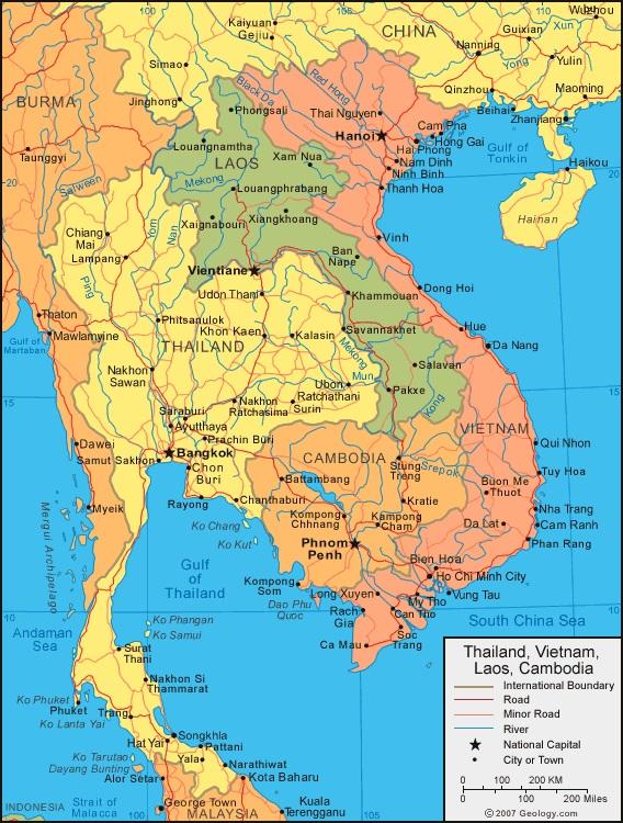 Таиланд и Камбоджа на карте