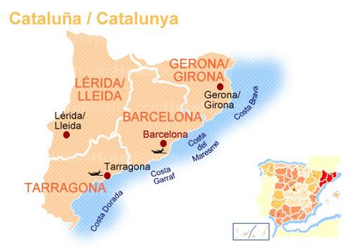 Провинции Каталонии на карте