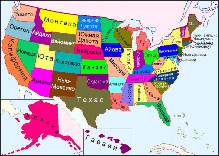 Карта США по штатам