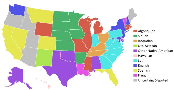 Карта США по разговорным языкам