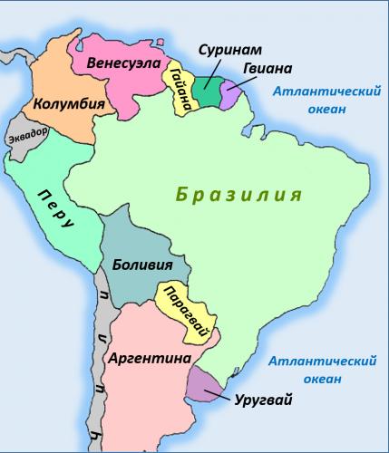 Колумбия на карте Южной Америки
