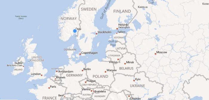Норвегия на карте