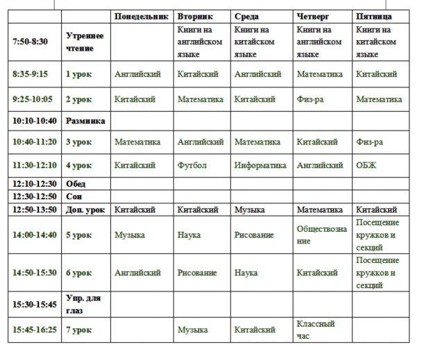 Расписание учеников в китайской школе