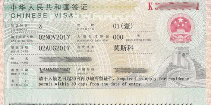виза Z в Китае