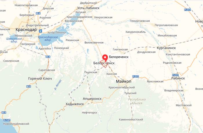 Белореченск на карте