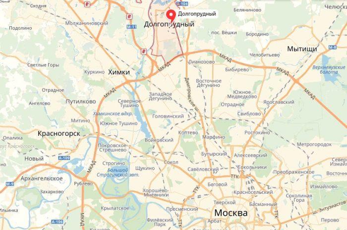 Расстояние от Москвы до Долгопрудного