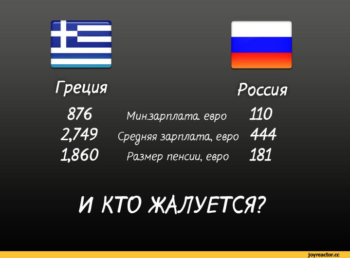 Сравнение зарплаты и пенсии Греции и России