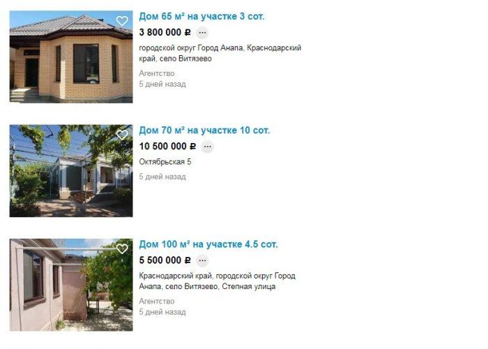 Цены на недвижимость Витязево